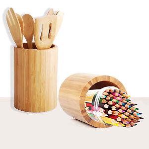 Details About Bamboo Kitchen Utensil Holder Large Round Organizer Wooden Cutlery Storage Drayr