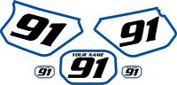 1991-2003 Yamaha Dtr 125 Pre-printed White Backgrounds With Blue Bold Pinstripe