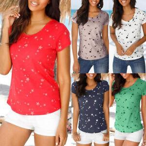 9f2f81ce Fashion Women Summer Loose Short Sleeve Star Printed Casual T-Shirt ...