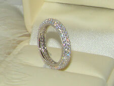 925 Silver  Ring,Eternity curve Ring,3 row wedding band,Stacking Ring size N/6.5