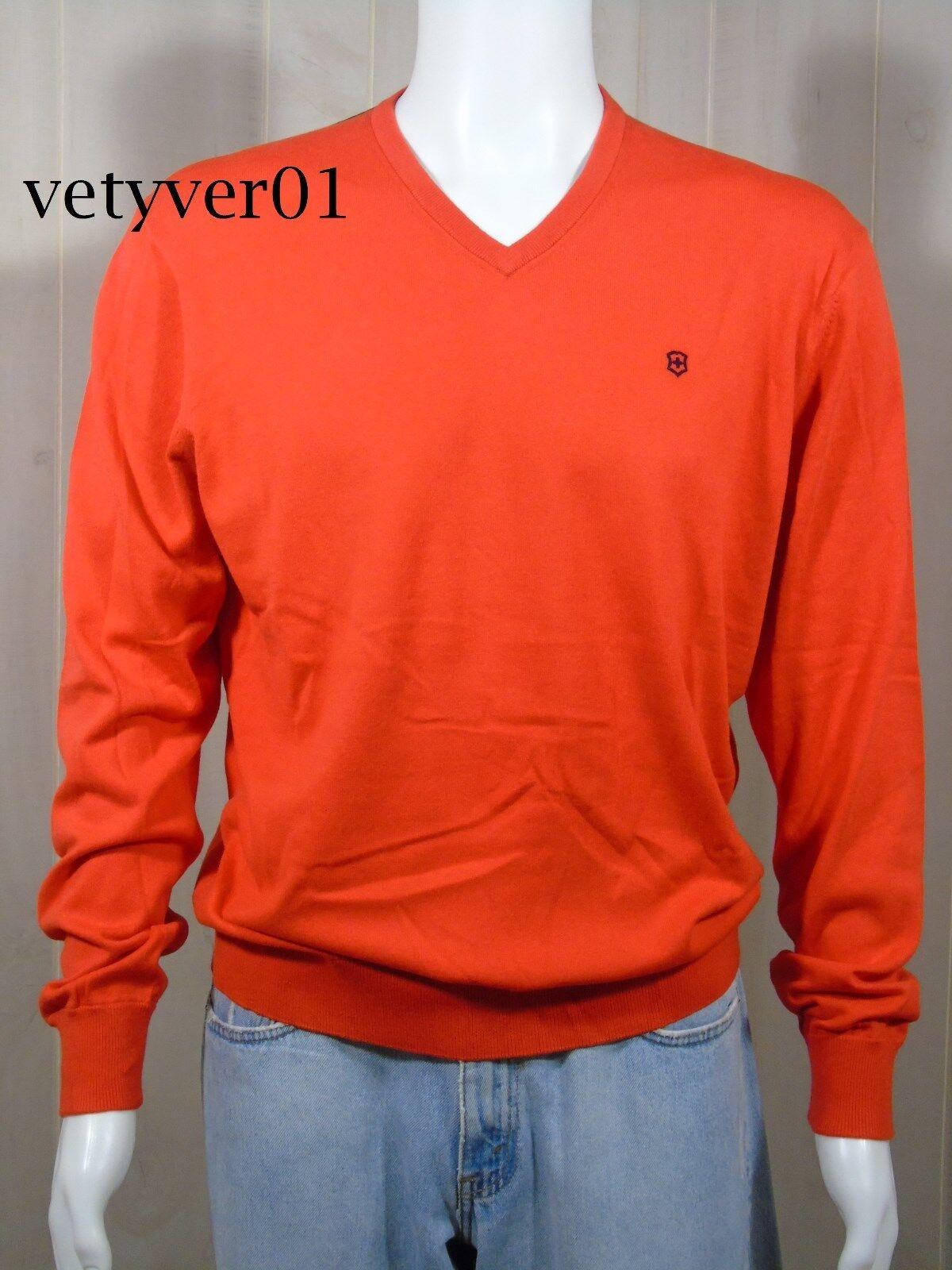 Nuevo  Victorinox Swiss Army  firma  a medida algodón de punto con cuello en v suéter naranja  garantía de crédito