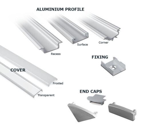 1m escalier kit pour lumière led bandes-coin aluminium profil//housse//end caps
