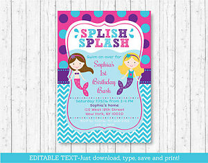 Mermaid pool party birthday invitation printable editable pdf ebay image is loading mermaid pool party birthday invitation printable editable pdf stopboris Image collections