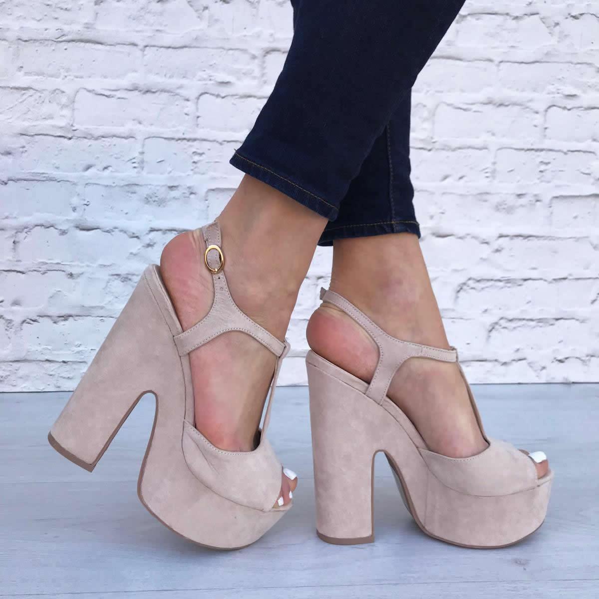 Dettagli su Scarpe donna sandali spuntati con tacco alto e plateau con fibbia scamosciati