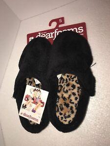 Women\'s Dearfoams Black Leopard Fleece Bedroom Slippers Washable ...