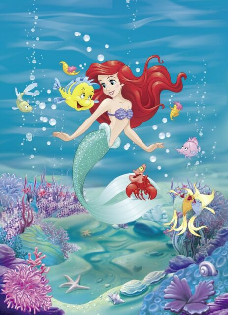 Photo Wallpaper Ariel Disney Girl S Bedroom Mermaid Wall Mural Giant Poster For Sale Online