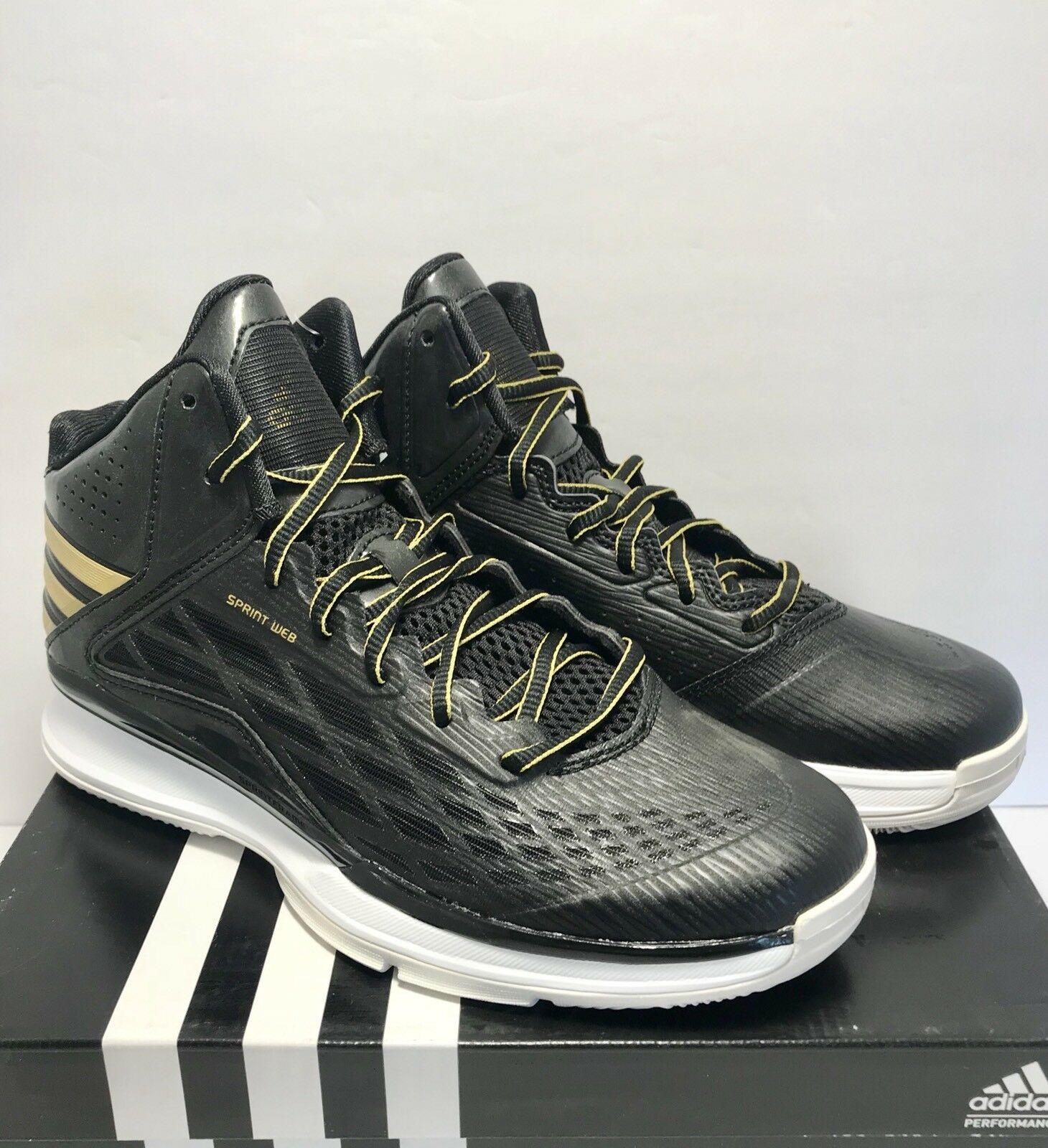 Adidas Mens Size 12.5 Performance Transcend Basketball Training shoes Black gold