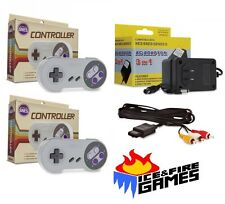 SNES Bundle- 2 Controllers, AC Adapter Power Cord & AV Cable (Super Nintendo)