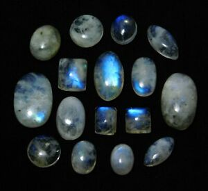 Natural Loose Gemstone Certified 1.75 To 9.35 Ct Cabochon Rainbow Moonstone Lot