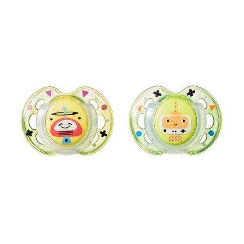 Tommee Tippee fun style orthodontique 2 sucettes 0-6 m Jaune//Vert Robots