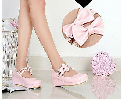 Mary Janes Women Strappy Buckle Bowtie Wedge Low Heels Sweet Lolita Girls Shoes