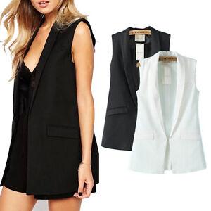 mode damen rmellos jacke west mantel slim lang trenchcoat cardigan blazer tops ebay. Black Bedroom Furniture Sets. Home Design Ideas