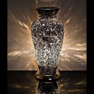 Fabulous Mosaic Glass Crackle Black Vase Lamp Ebay
