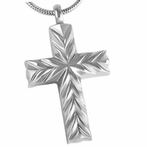 Stainless-Steel-Cross-Cremation-Pendant-Urn-Jewelry-Holds-Pet-Ashes-Human