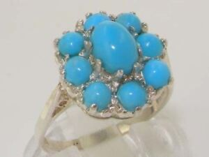 Solid-925-Sterling-Silver-High-Quality-Genuine-Natural-Turquoise-Cluster-Ring