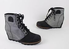 NEW SOREL 1964 Premium Black White Women's Ankle Wedge Boots US 10