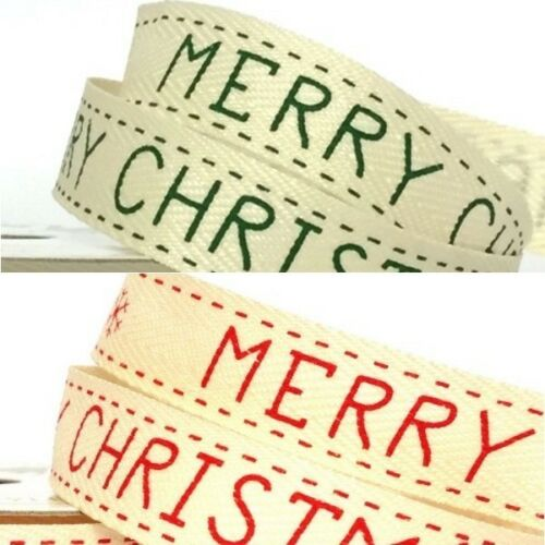 15mm joyeux noël festif imprimée en sergé ruban artisanat ruban 4 mètre reel