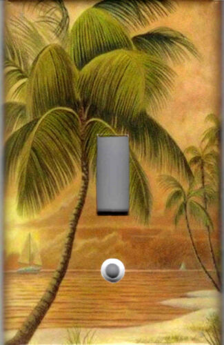 TROPICAL PALM TREE IN PARADISE No.2 HOME WALL DECOR LIGHT SWITCH PLATES