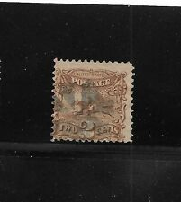 US sc#113 used 2c brown Post Horse with grill 1869 bank note cork cancel f/vf