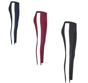 Damen-Leggins-mit-Seitenstreifen-Sport-Leggings-Skinny-Treggings-Jeggings-Hose
