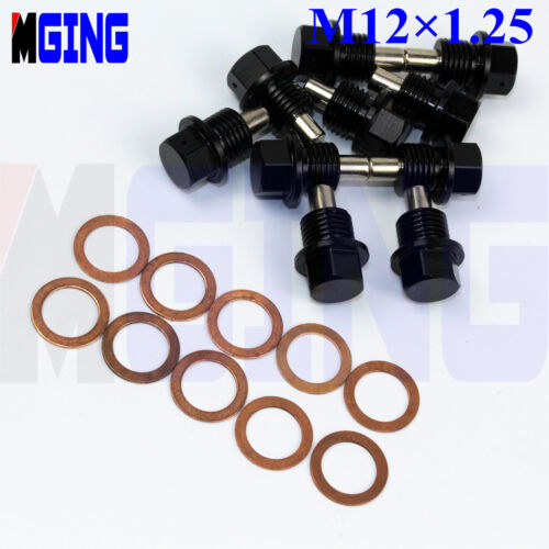 Drain Plug M12X1.25 Engine Magnetic Oil Pan Bolt Crush Washer Filter Adsorb 10P