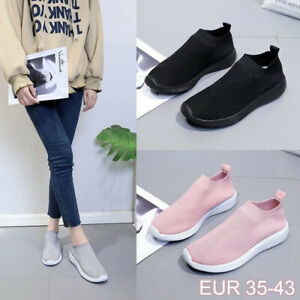 Women-039-s-Trainers-Casual-Round-Toe-Slip-On-Sneakers-Tennis-Breathable-Sock-Shoes