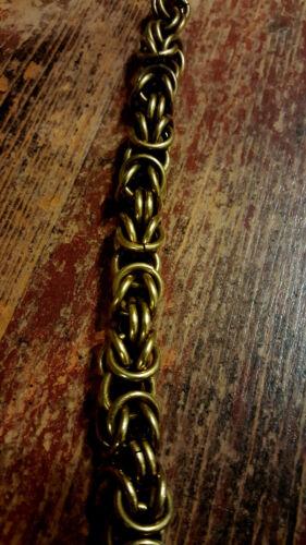Handmade Aged Bronze Wallet Chain With Skull Hook Snake Box Chain Brass