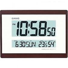 Casio Digital LCD Calendario Temperatura Office Hogar Reloj Pared Interior, Marrón