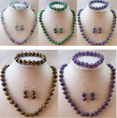 "Hot stunning 10 mm variety of gemstone necklace bracelet earrings suit 18""/7.5"""