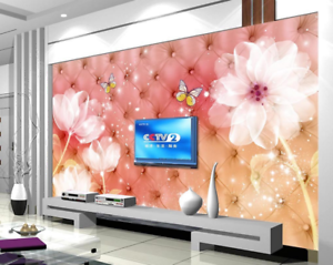 3D Flowers Pink 476 Wallpaper Murals Wall Print Wallpaper Mural AJ WALL AU Lemon