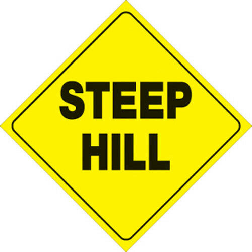 "Voss Signs 431 SH YR  Yellow Plastic Reflective Sign12/"" Steep Hill"