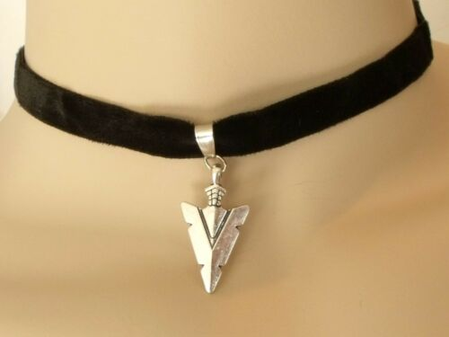 Black Velvet Choker Necklace with Silver Arrowhead Pendant Lobster Claw Fastener
