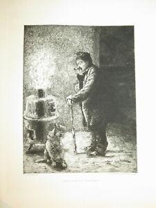 Paul RENOUARD 1845-1924 GRAVURE GARDE NUIT TROCADERO METIER PARIS REALISME 1875