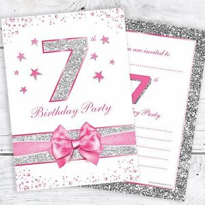 7th birthday invites pink with photo effect glitter a6 size image is loading 7th birthday invites pink with photo effect glitter stopboris Image collections