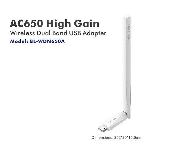 LB-LINK AC650 High Gain Wireless Dual Band USB Adapter - Brand New