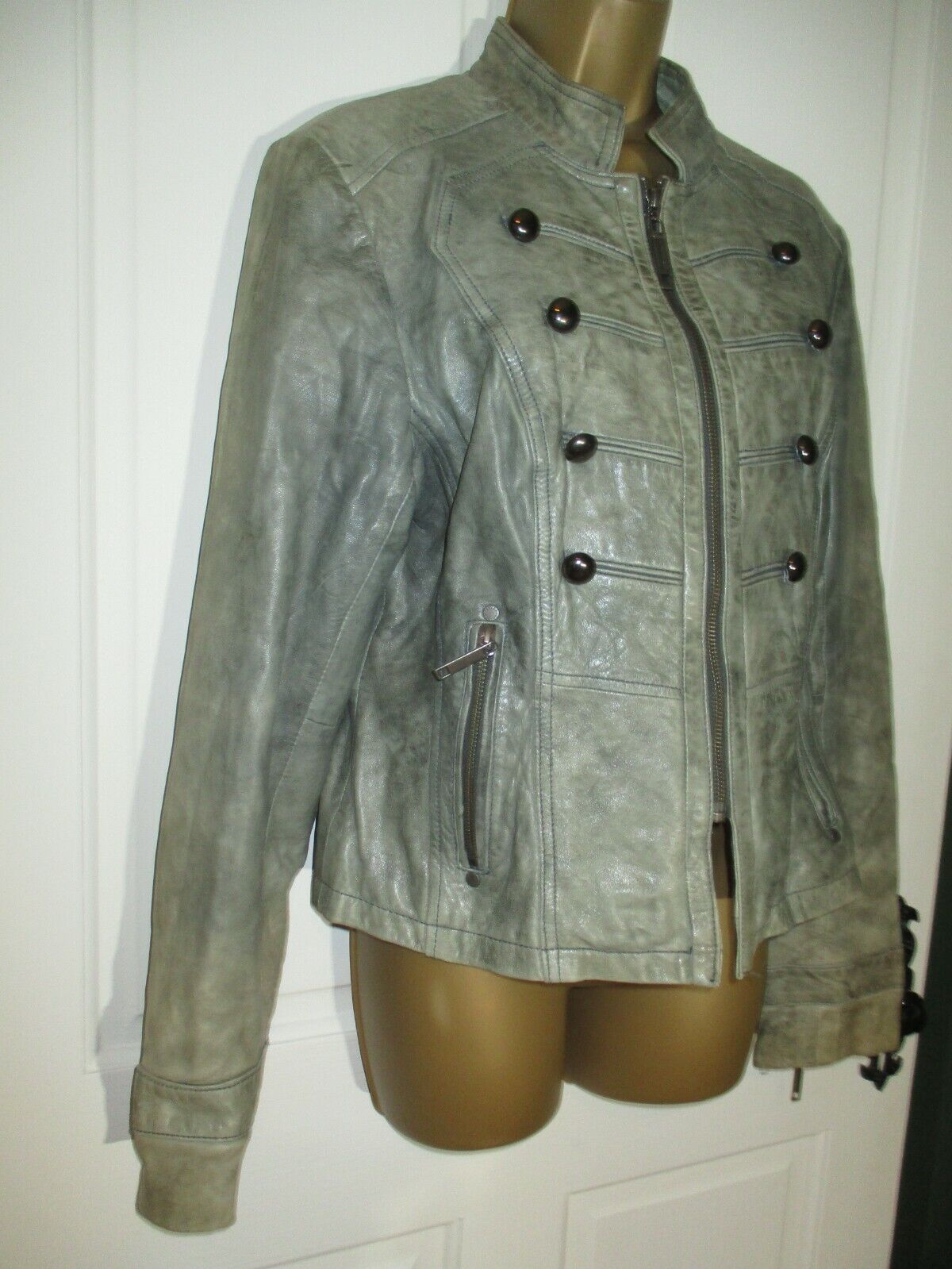River Island Real Genuine Leather Military Style Lined Jacket Size 16 UK