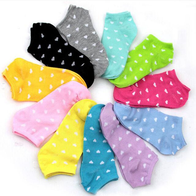 Women Cute Love Peach Heart Printed Cotton Invisible multi-color Boat Socks