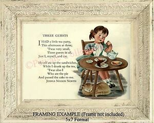 Little Girl Tea Party Nostalgic Illustrated Tea At Three