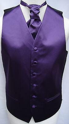 Mens Purple Satin Wedding Waistcoat w/wo Cravat-Tie-Bowtie from 19.75 - 22.75