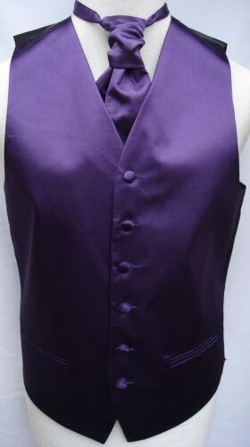 Mens Purple Satin Wedding Waistcoat w//wo Cravat-Tie-Bowtie from 19.75-22.75