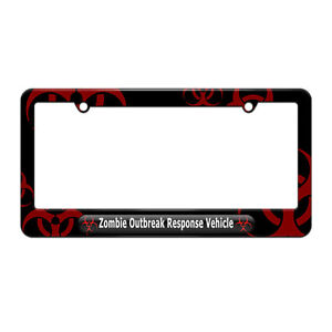 Zombie-Outbreak-Response-Vehicle-Black-License-Plate-Frame-Red-Biohazard