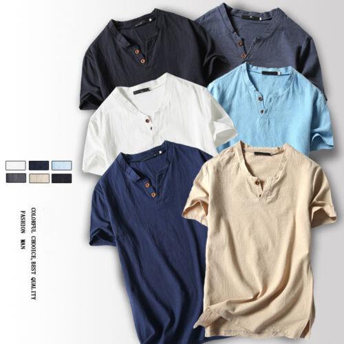 Man Cotton Linen Short Sleeve V-Neck T-shirt Blouse Tee Solid Loose Tops L-5XL