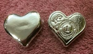 1-oz-Hand-Poured-999-Silver-Bullion-Bar-034-Heart-034-by-YPS-Yeager-039-s-Poured-Silver
