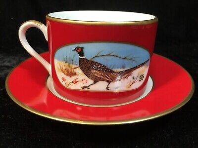 Lynn Chase Green Winter Game Birds 24K Gold Decorated Cup /& Saucer