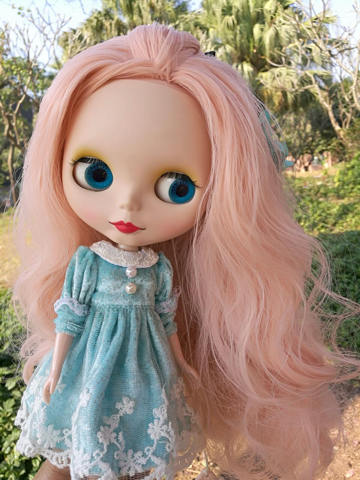 12  Neo Desnuda Muñeca Blythe Doll de fábrica Mate Cara Luz rosado Largo Cabello Rizado