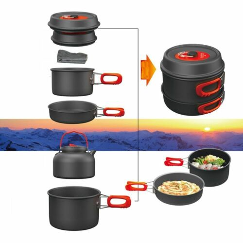 Camping Cooking Cookware Set Portable Aluminium Pots Pans cutlery equipment