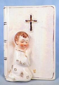 Child-Praying-Holy-Bible-Bank-Vintage-Porcelain-Faith-amp-Charity-Japan-Needs-Cork