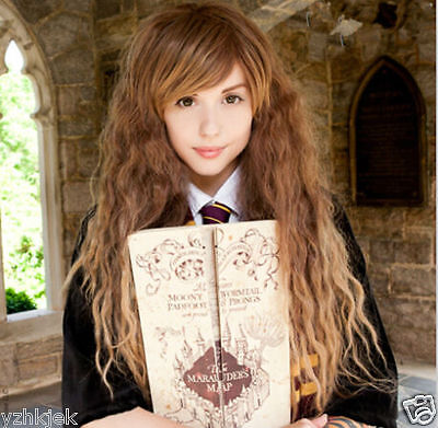 Harry Potter Hermione Granger Corn Hot Long Brown Wavy Cosplay Wig H68