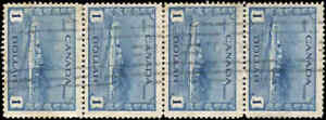 Used-Canada-1942-STRIP-OF-4-1-00-F-VF-Scott-262-KGVI-War-Issue-Stamps