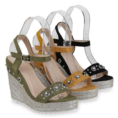 Damen Plateau Sandaletten Bast Keilabsatz Schuhe High Heels Nieten 822894 Schuhe